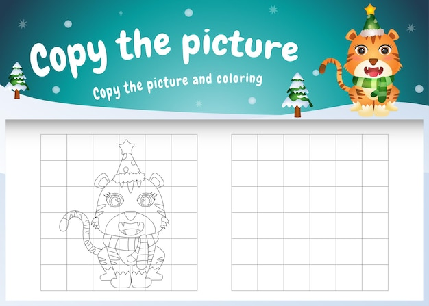 Copy the picture kids game and coloring page with a cute tiger using christmas costume