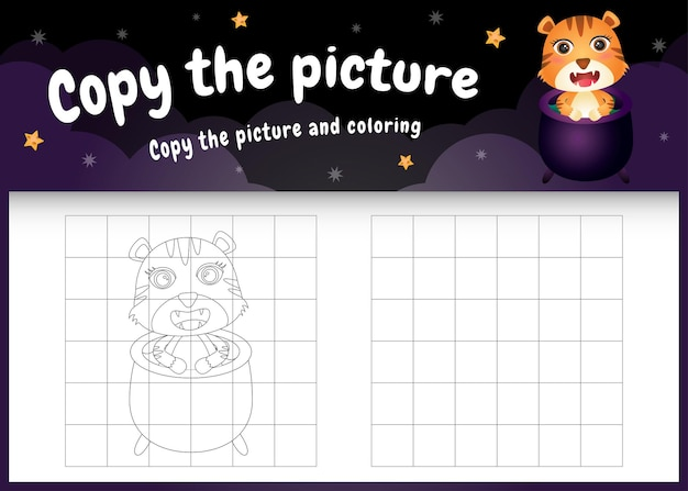 Copy the picture kids game and coloring page with a cute tiger using halloween costume