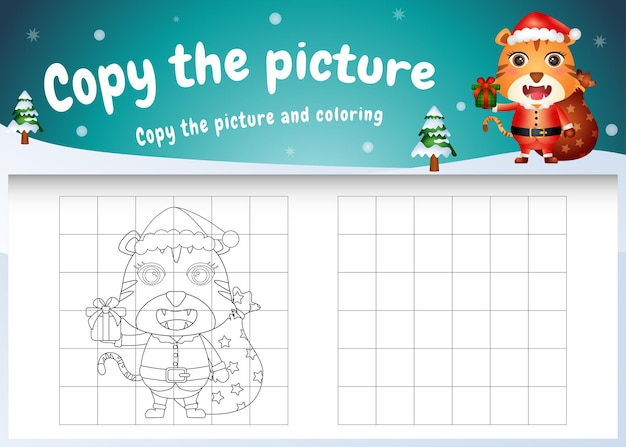 Copy the picture kids game and coloring page with a cute tiger using santa costume
