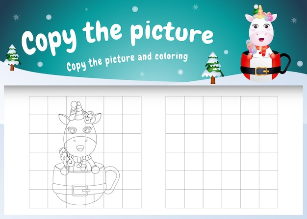 Copy the picture kids game and coloring page with a cute unicorn on the cup
