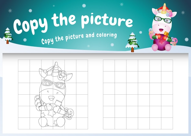 Copy the picture kids game and coloring page with a cute unicorn hug ball