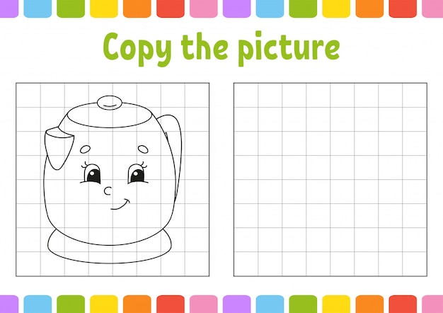Copy the picture. kitchen kettle. coloring book pages for kids. education developing worksheet.
