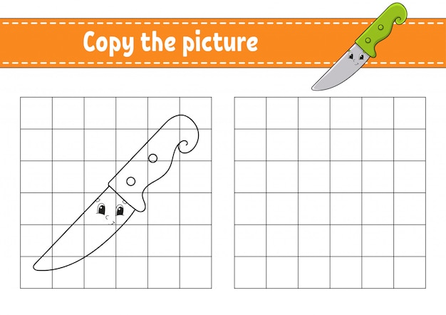 Copy the picture. knife. coloring book pages for kids.