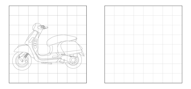 Copy the picture of motorcycle outline cartoon