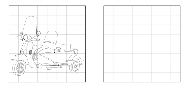 Copy the picture of motorcycle with side car outline