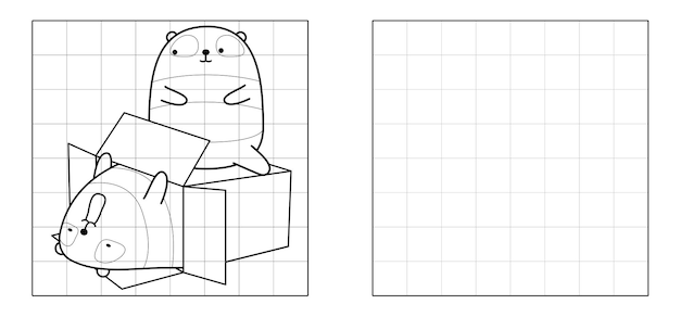Copy the picture of panda in the box cartoon
