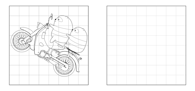 Copy the picture of pandas are riding motorcycle cartoon