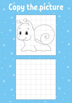 Copy the picture. snail mollusk. coloring book pages for kids. education developing worksheet.