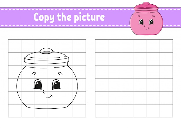 Copy the picture. sugar bowl. coloring book pages for kids.