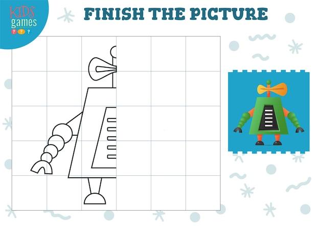 画像のベクトル図をコピーします。就学前および学校の子供のための完全な着色ゲーム。描画と教育活動のためのかわいい面白いロボット