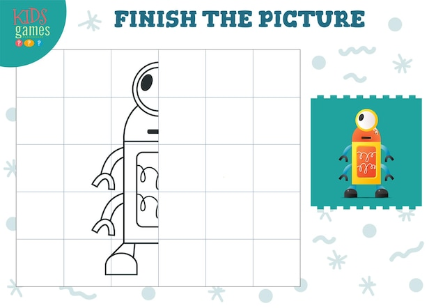 Copy picture vector illustration. complete and coloring game for preschool and school kids. cute little robot for drawing and learning activity