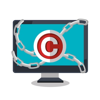 Copy right seal isolated icon design