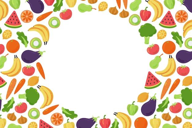 野菜や果物に囲まれたスペースの背景をコピーします