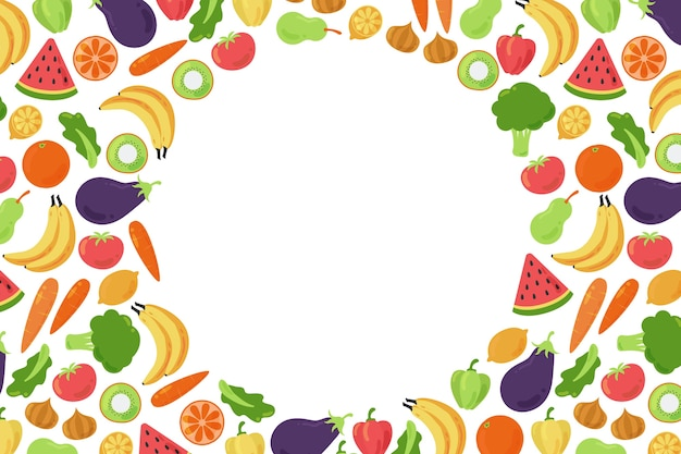 Copy space background surrounded by veggies and fruit