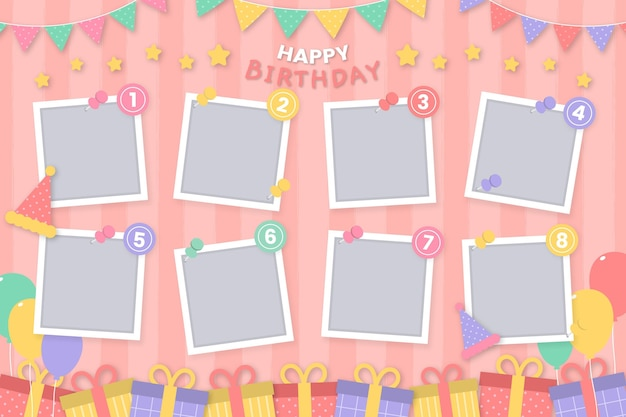 Copy space flat design birthday collage frame set