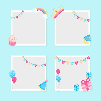 Copy space flat design birthday collage frame