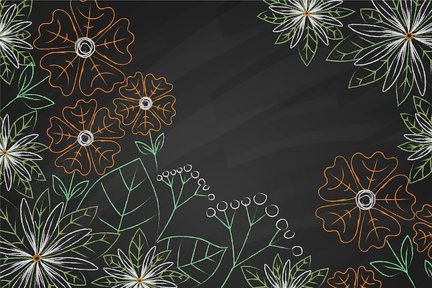 Copy space flowers on blackboard background