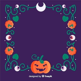 Copy space halloween frame with pumpkin and tribal lines