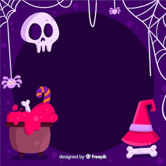 Copy space halloween frame with witchcraft