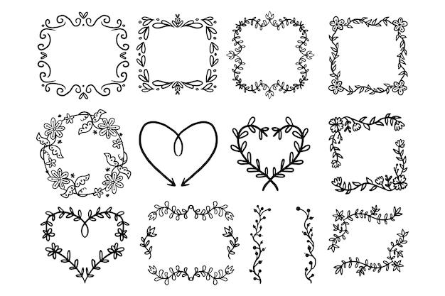 コピースペース装飾フレーム手描きコレクション