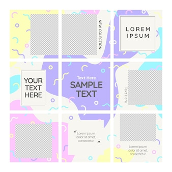 Copia spazio post instagram puzzle feed template