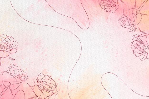スペースのバラと線の水彩画の背景をコピーします