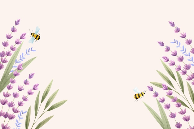 Copy space spring background and bees