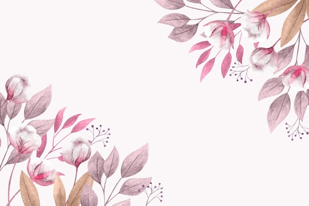 Copy space spring background with flowers and leaves