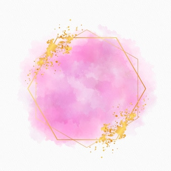 Copy space watercolor golden frame