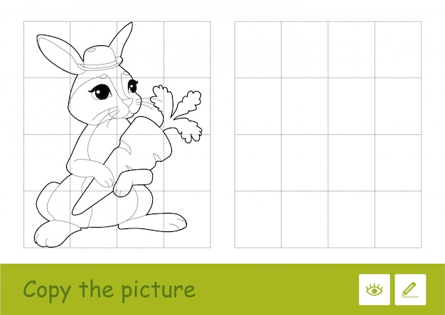 四角で絵をコピーし、最年少の子供のためにニンジンを持っているかわいいうさぎの簡単な輪郭のイラストで子供たちのゲームを学ぶクイズに色を付けます。