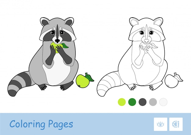Скопируйте картинку по квадратам и раскрасьте ее в обучающую игру для детей с простой контурной иллюстрацией поедания яблочного енота для самых маленьких. веселье и обучение диких животных для детей.