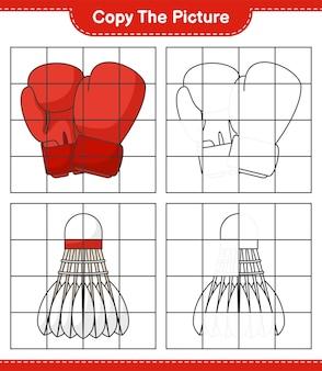 Скопируйте рисунок, скопируйте рисунок боксерских перчаток и волана, используя линии сетки. развивающая детская игра, лист для печати, векторные иллюстрации