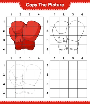 Скопируйте изображение, скопируйте изображение боксерских перчаток, используя линии сетки. развивающая детская игра.