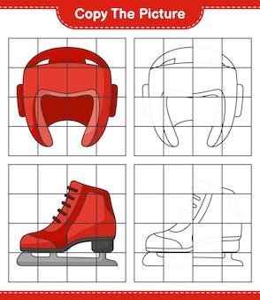 Скопируйте изображение, скопируйте изображение боксерского шлема и коньков, используя линии сетки. развивающая детская игра, лист для печати, векторные иллюстрации