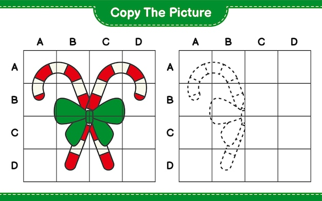 Скопируйте картинку, скопируйте картинку candy canes with ribbon, используя линии сетки. развивающая детская игра, лист для печати
