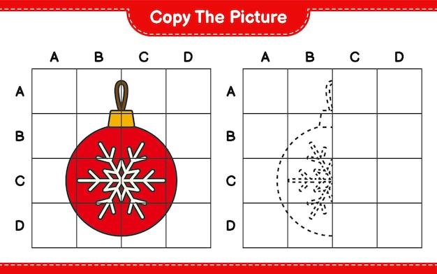 Скопируйте картинку, скопируйте картинку елочные шары с помощью линий сетки. развивающая детская игра, лист для печати