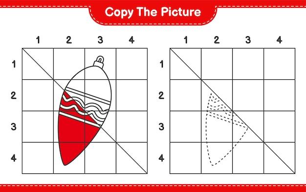 Скопируйте картинку, скопируйте картинку рождественские огни, используя линии сетки. развивающая детская игра, лист для печати
