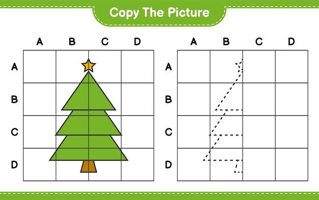 Скопируйте рисунок, скопируйте рисунок елки с помощью линий сетки. развивающая детская игра, лист для печати