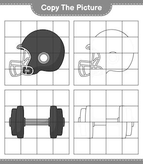 Скопируйте изображение, скопируйте изображение футбольного шлема и гантели, используя линии сетки. развивающая детская игра, лист для печати, векторные иллюстрации