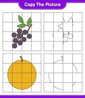 그림을 복사하고 격자 선을 사용하여 과일 그림을 복사합니다. 교육용 어린이 게임, 인쇄 가능한 워크 시트
