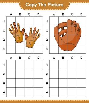 Скопируйте изображение, скопируйте изображение перчаток для гольфа и бейсбольной перчатки, используя линии сетки. развивающая детская игра, лист для печати, векторные иллюстрации