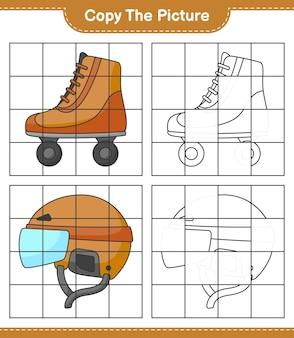 Скопируйте изображение, скопируйте изображение роликовых коньков и хоккейного шлема, используя линии сетки. развивающая детская игра, лист для печати, векторные иллюстрации