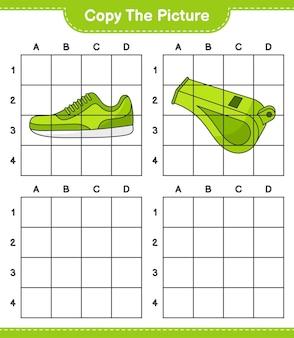 Скопируйте картинку, скопируйте картинку sneaker and whistle, используя линии сетки. развивающая детская игра, лист для печати, векторные иллюстрации