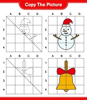 写真をコピーし、グリッド線を使用して雪だるまとゴールデンクリスマスベルの写真をコピーします。教育的な子供向けゲーム、印刷可能なワークシート
