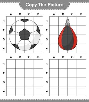 Скопируйте изображение, скопируйте изображение футбольного мяча и боксерской груши, используя линии сетки. развивающая детская игра, лист для печати, векторные иллюстрации