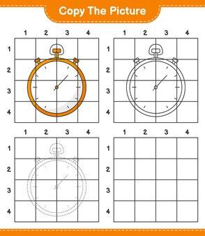 Скопируйте изображение, скопируйте изображение секундомера, используя линии сетки. развивающая игра для детей.