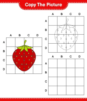그림을 복사하고 격자 선을 사용하여 딸기 그림을 복사하십시오. 교육용 어린이 게임, 인쇄 가능한 워크 시트
