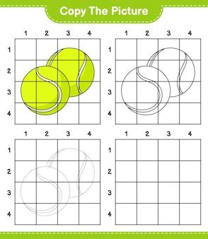 Скопируйте изображение, скопируйте изображение теннисного мяча, используя линии сетки. развивающая детская игра.