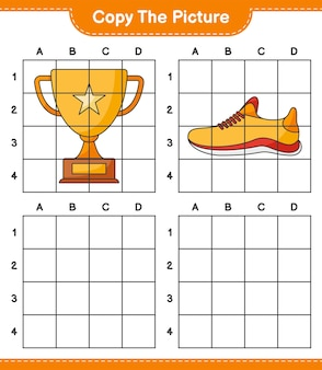 Скопируйте изображение, скопируйте изображение трофея и кроссовок, используя линии сетки. развивающая детская игра, лист для печати, векторные иллюстрации