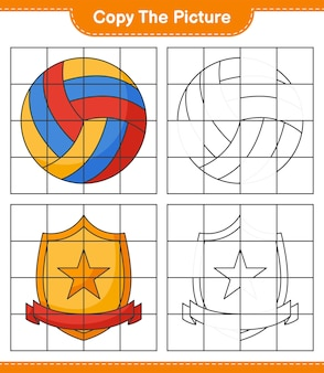 Скопируйте изображение, скопируйте изображение волейбола и трофея, используя линии сетки. развивающая детская игра, лист для печати, векторные иллюстрации